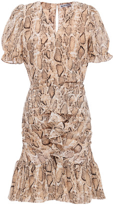 Walter Baker Ruched Wrap-effect Snake-print Georgette Mini Dress
