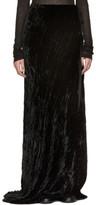 Ann Demeulemeester Black Long Velvet Side Tie Skirt