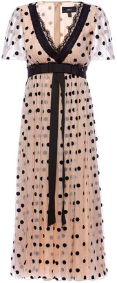 Nissa Silk Waistband & Lace Application Dots Dress
