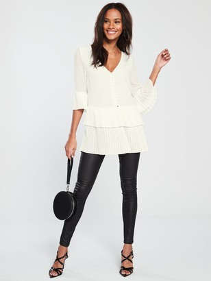 Very Pleated Button Detail Tunic - Ivory