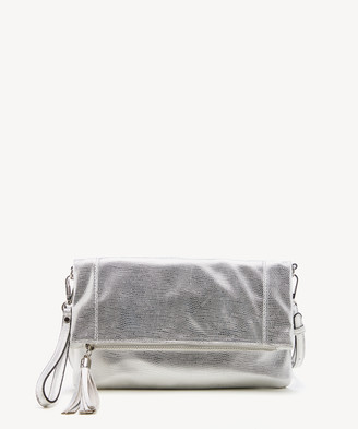 Sole Society Women's Tasia Clutch Vegan Foldover Clutch Silver Vegan Leather From