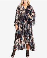 City Chic Trendy Plus Size Dark Palm Printed Maxi Dress