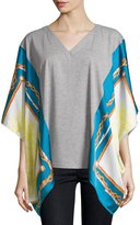 Neiman Marcus Scarf-Print V-Neck Tunic, Gray