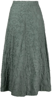 Alysi Embroidered Flared Midi Skirt