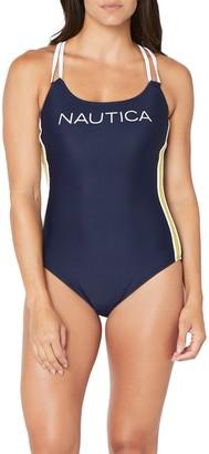 Nautica Cross Back Logo One-Piece Swimsuit