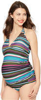 A Pea in the Pod Maternity Halter Striped Tankini Swimsuit