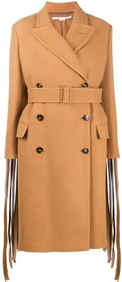 Stella McCartney Fringed-Sleeve Double-Breasted Wool Coat