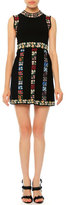 Valentino Sleeveless Garden-Stripe Mini Dress, Black Multi