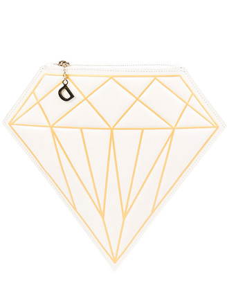 Charlotte Olympia Gold & White Leather D Is For Diamond Clutch