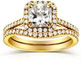 Kobelli Jewelry Kobelli 1 1/2 CT TW Radiant-Cut Diamond 14K Gold Art Deco Halo Bridal Set