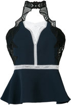 Jonathan Simkhai lace insert halter top - women - Polyester/Spandex/Elastane/Acetate/Viscose - S