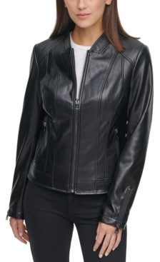 Kenneth Cole Faux-Leather Zip-Front Jacket