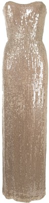 Jenny Packham Sequin Strapless Maxi Dress