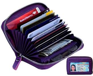 Kalmore Women's Genuine Leather Credit Card Holder RFID Secure Spacious Cute Zipper Card Wallet Small Purse with ID Window