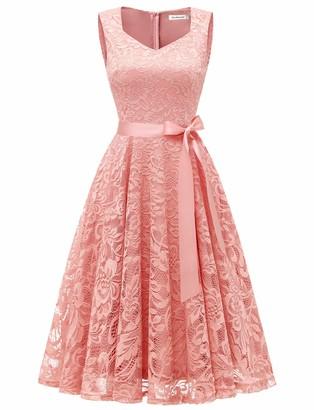 Gardenwed Women's Vintage Dresses Floral Lace Sleeveless V-Neck for Cocktail Wedding Business Navy XL