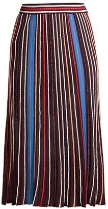 M Missoni Striped Knit A-Line Midi Skirt