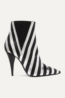 Saint Laurent Kiki Striped Leather And Watersnake Ankle Boots - Silver
