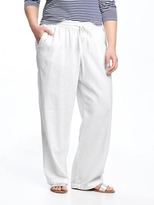 Old Navy Mid-Rise Plus-Size Linen-Blend Wide-Leg Pants
