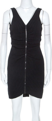 Chanel Black Geometric Patterned Ruched Detail Mini Dress L