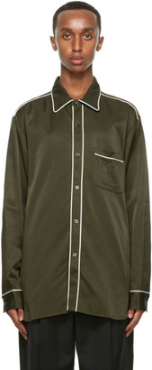 Nicholas Daley Khaki Cotton Standard Shirt