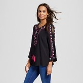 Simply by Love Scarlett Women's Multi Colored Embroidered Peasant Blouse