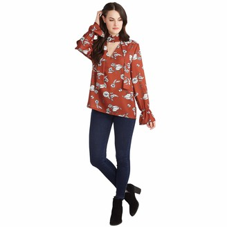 Mud Pie Women's Rust Floral Ruby Bow Top Individual Sizes Small