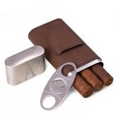 Unbranded Monogrammed Brown Finley Cigar Case