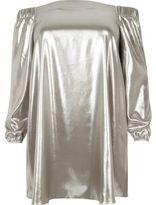 River Island Womens Plus silver metallic bardot swing dress