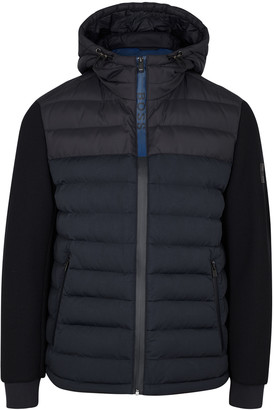 HUGO BOSS Navy quilted shell and knitted jacket