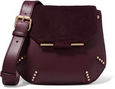 Sandro Studded suede and leather shoulder bag