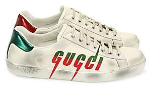 Gucci Men's New Ace New Logo Leather Sneakers