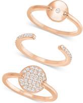 Swarovski Rose Gold-Tone 3-Pc. Set Crystal Stacking Rings