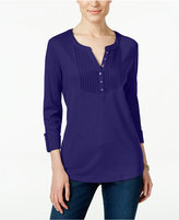 Karen Scott Pintucked Henley Top, Only at Macy's