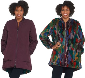 Logo by Lori Goldstein Reversible Faux Fur & Quilted Coat