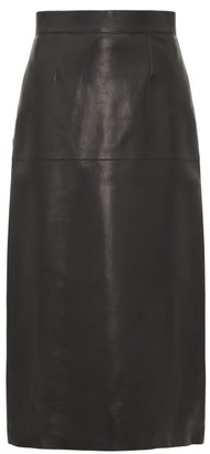 Inès & Marèchal Daisy Leather Midi Skirt - Womens - Black