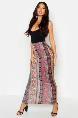 boohoo Bohemian Stripe Tube Jersey Maxi Skirt