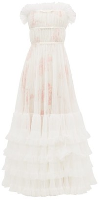 Giambattista Valli Tulle-overlay Floral-print Gown - Womens - Ivory