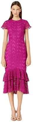 ML Monique Lhuillier Short Sleeve Lace Midi Dress w/ Ruffle Hem (Dark Magenta) Women's Clothing