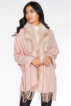 Quiz Pink Faux Fur Trim Knit Cape