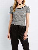 Charlotte Russe Marled & Ribbed Ringer Tee