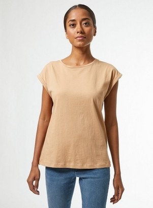 Dorothy Perkins Womens Dp Petite Camel Organic Cotton Roll Sleeve T Shirt