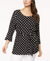 NY Collection Plus Size Polka-Dot Self-Tie Tunic