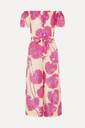 Diane von Furstenberg Helena Belted Printed Cotton And Silk-blend Jumpsuit - Pink