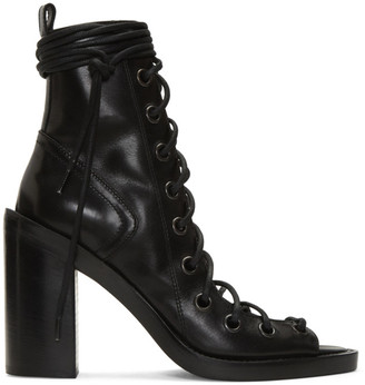 Ann Demeulemeester Black Lace-Up Sandals