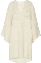 Chloé Oversized Cable-knit Wool Sweater Dress - Cream