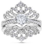Zales 1-1/4 CT. T.W. Diamond Crowned Bridal Set in 14K White Gold