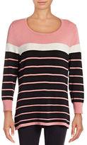 Imnyc Isaac Mizrahi Engineered Striped Sweater
