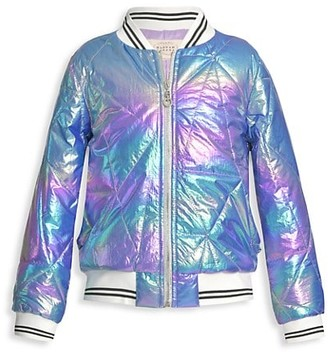 Hannah Banana Little Girl's Girl's Quilted Holographic Bomber Jacket
