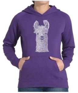LA Pop Art Women's Word Art Hooded Sweatshirt -Llama