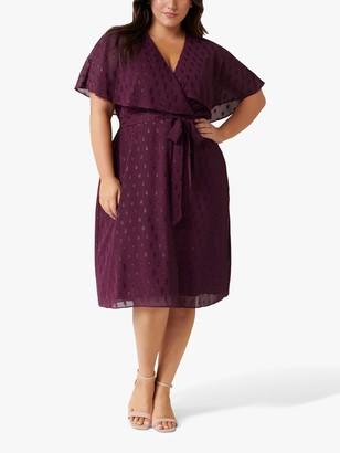 Forever New Curve Katie Textured Spot Dress, Plum